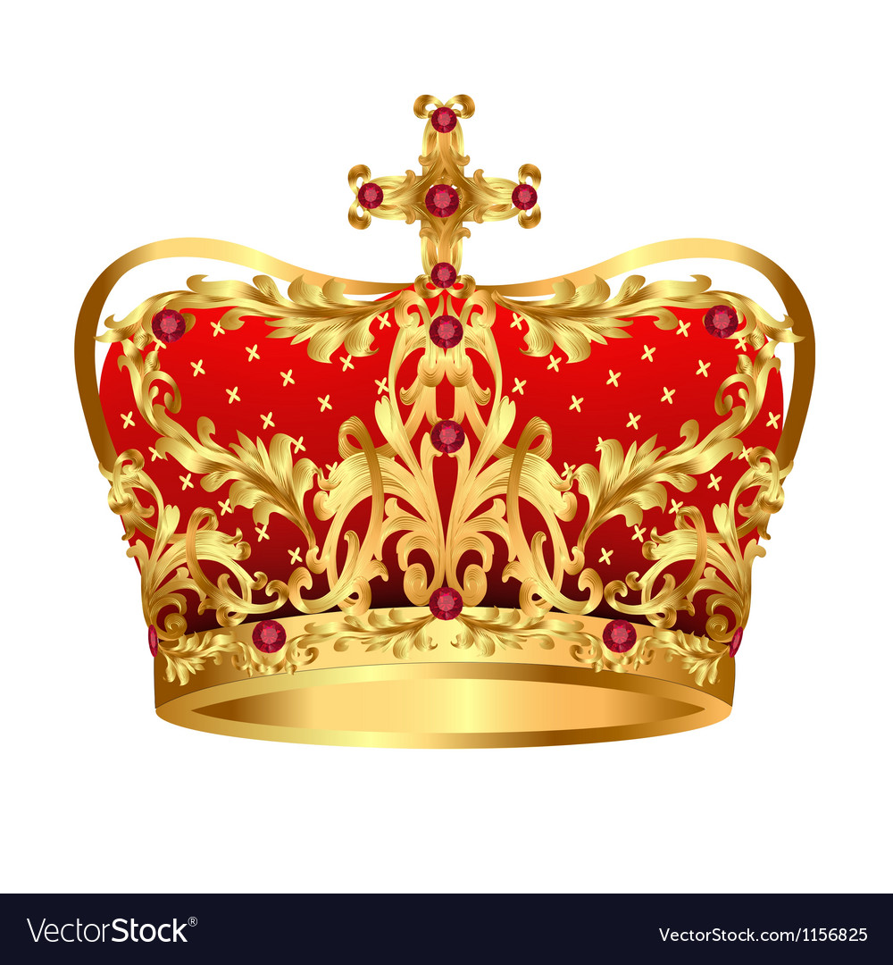 Royal gold crown with red precious stones vector | Price: 1 Credit (USD $1)