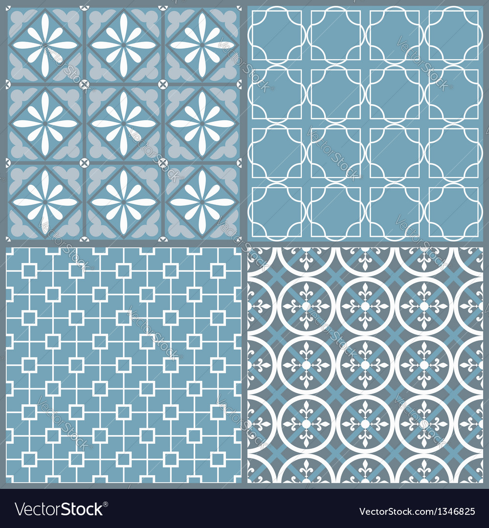 Set of four seamless geometric pattern vector | Price: 1 Credit (USD $1)