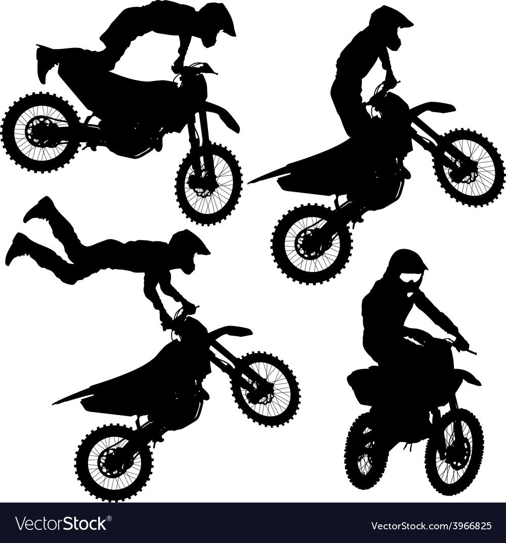 Set silhouettes motocross rider on a motorcycle vector