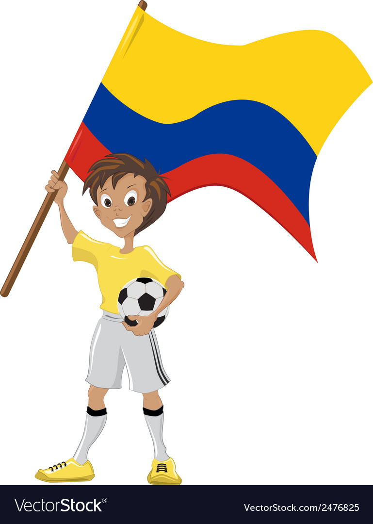 Soccer fan holds colombian flag vector | Price: 1 Credit (USD $1)
