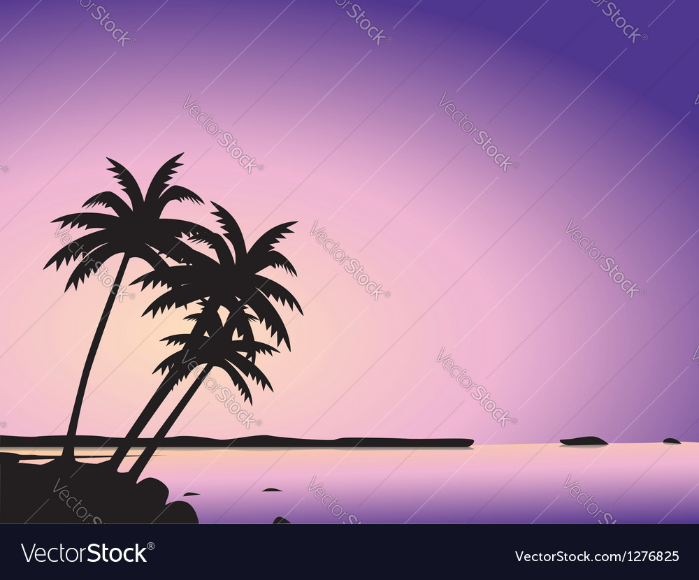 Tropical palm trees and sea vector | Price: 1 Credit (USD $1)
