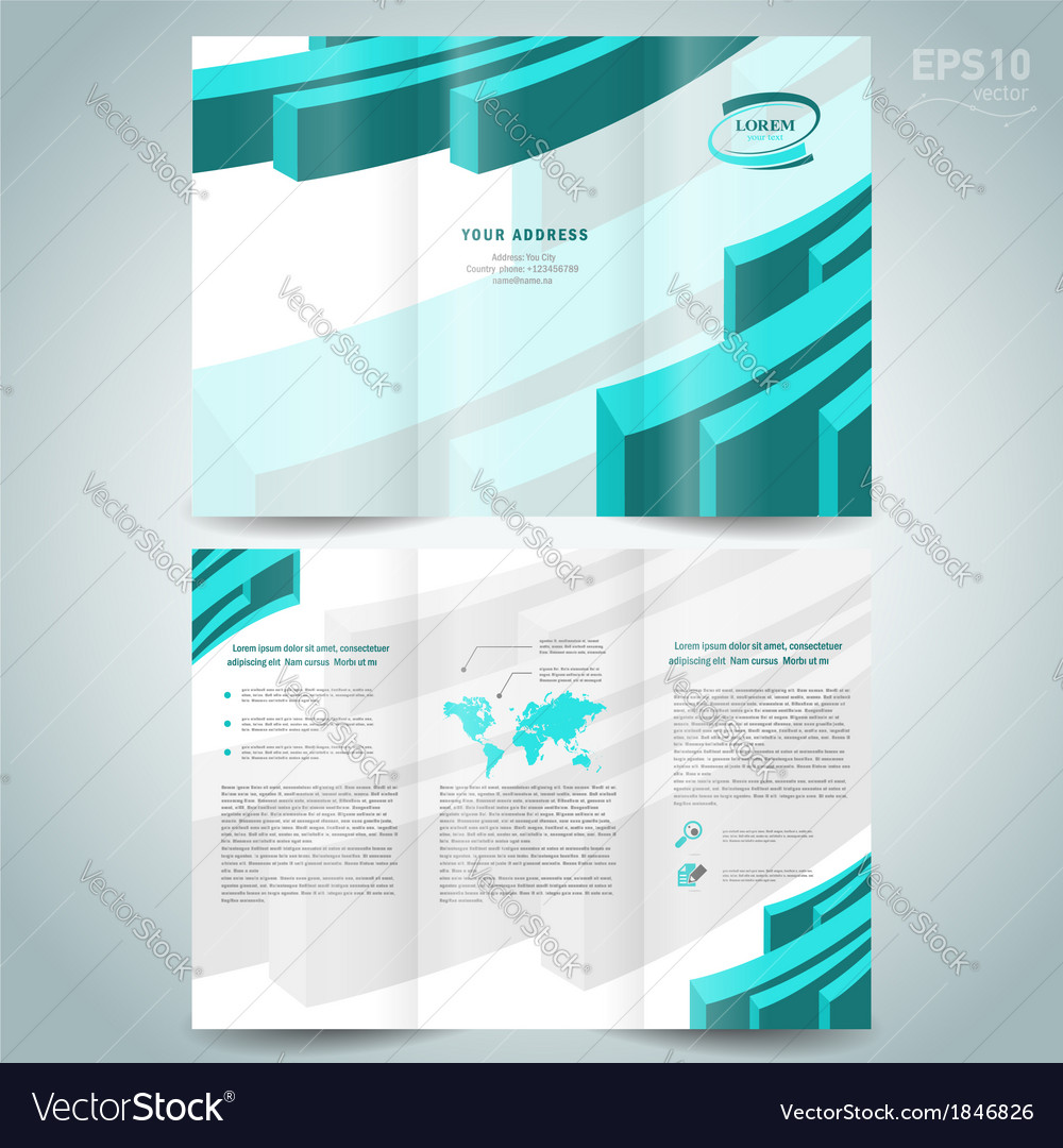 3d line brochure design template leaflet turquoise vector | Price: 1 Credit (USD $1)