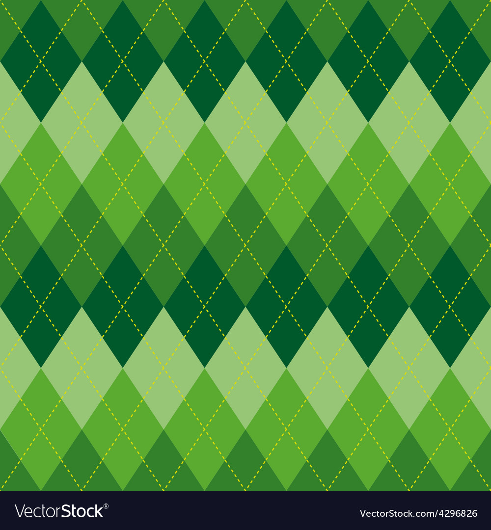 Argyle pattern green rhombus seamless texture vector | Price: 1 Credit (USD $1)
