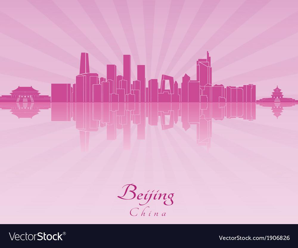 Beijing skyline in purple radiant orchid vector | Price: 1 Credit (USD $1)