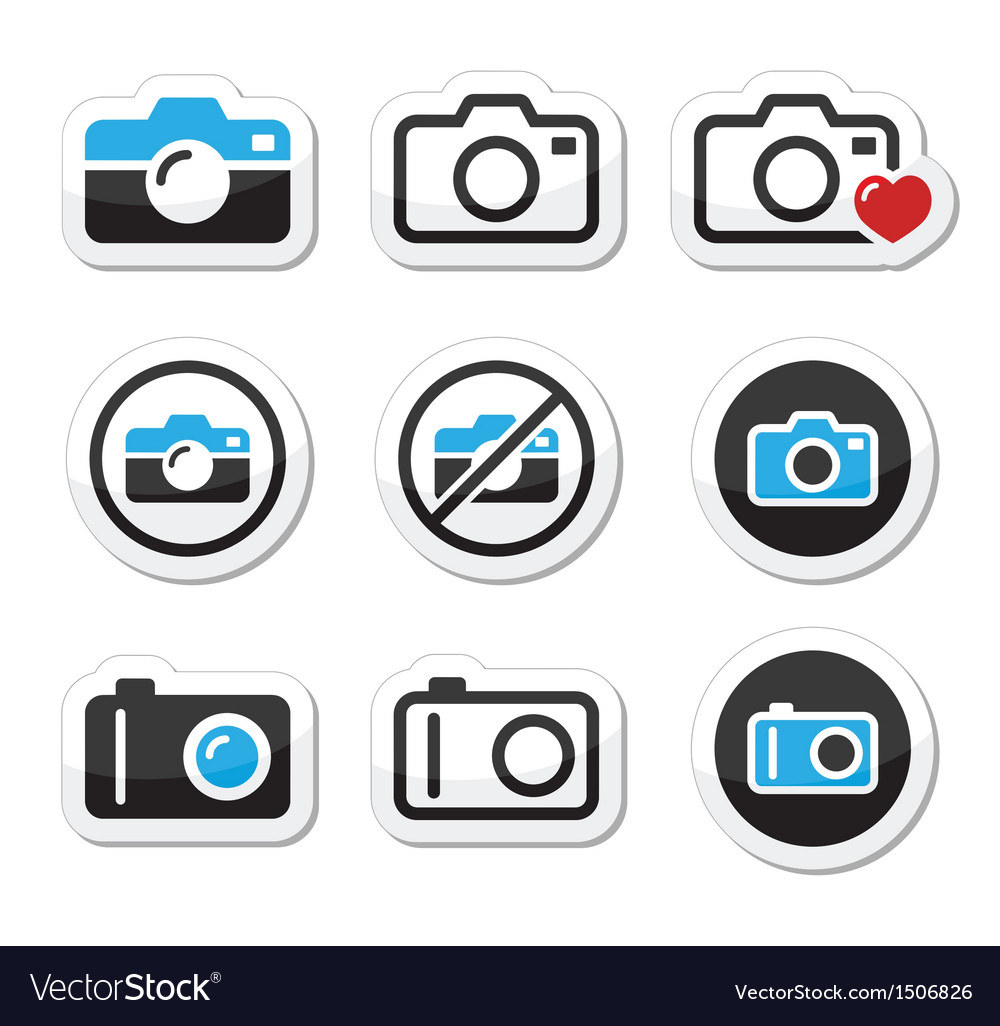 Camera analogue and digital icons set vector   Price: 1 Credit (USD $1)