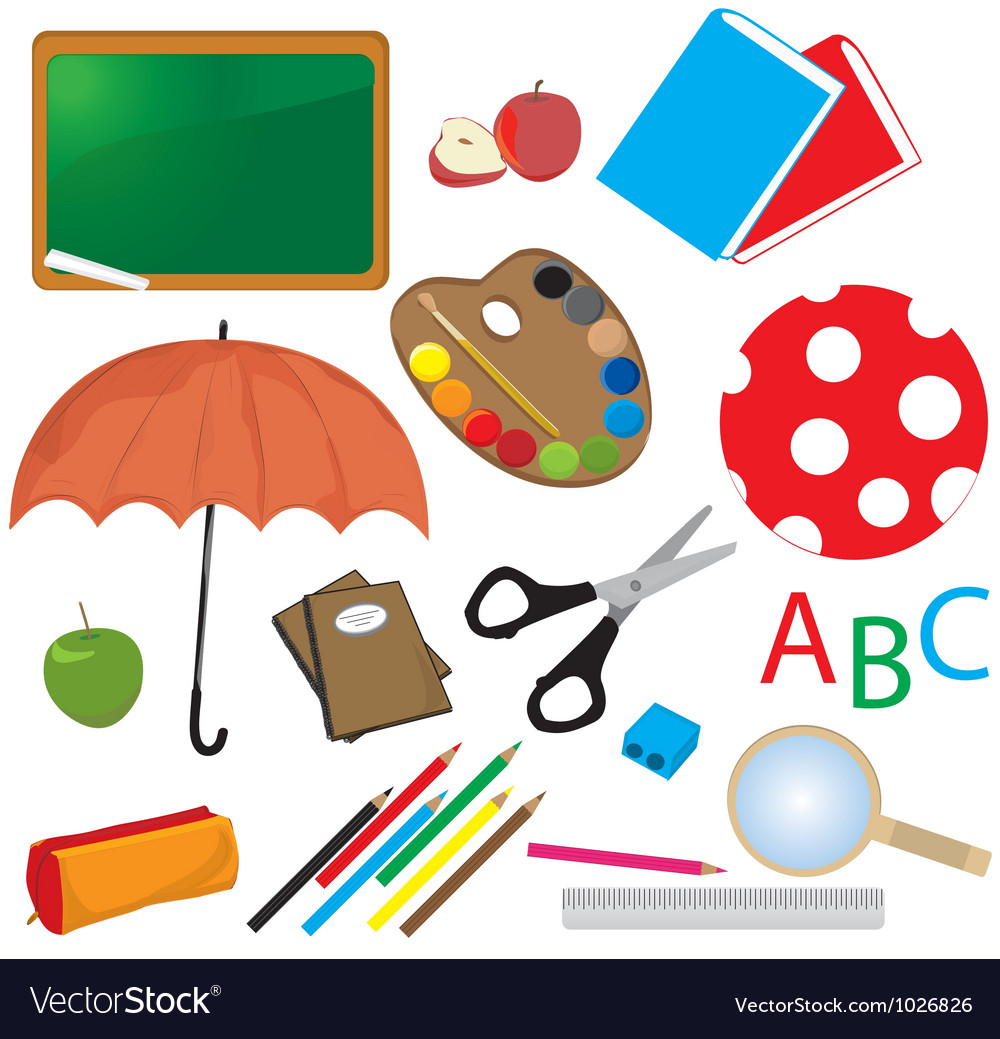 Childrens school items vector | Price: 1 Credit (USD $1)