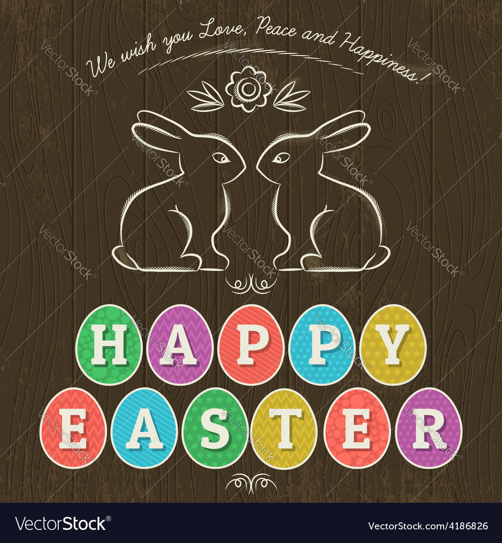 Easter day rabbit eggs vector | Price: 1 Credit (USD $1)