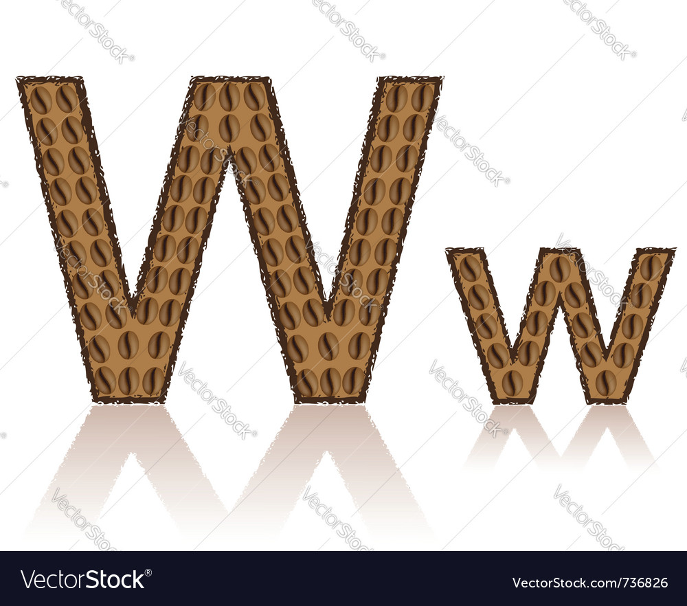 Letter w is made grains of coffee isolated on whit vector | Price: 1 Credit (USD $1)