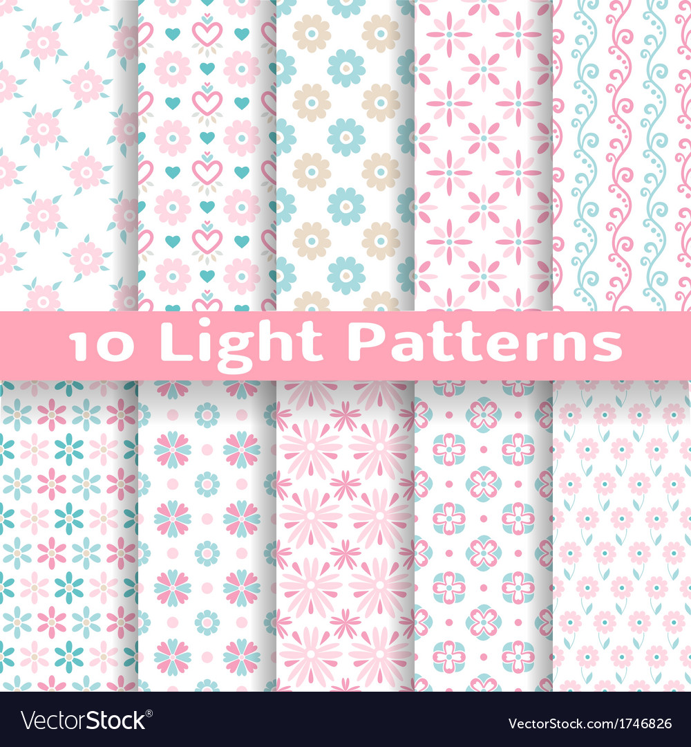 Light floral romantic seamless patterns tiling vector | Price: 1 Credit (USD $1)