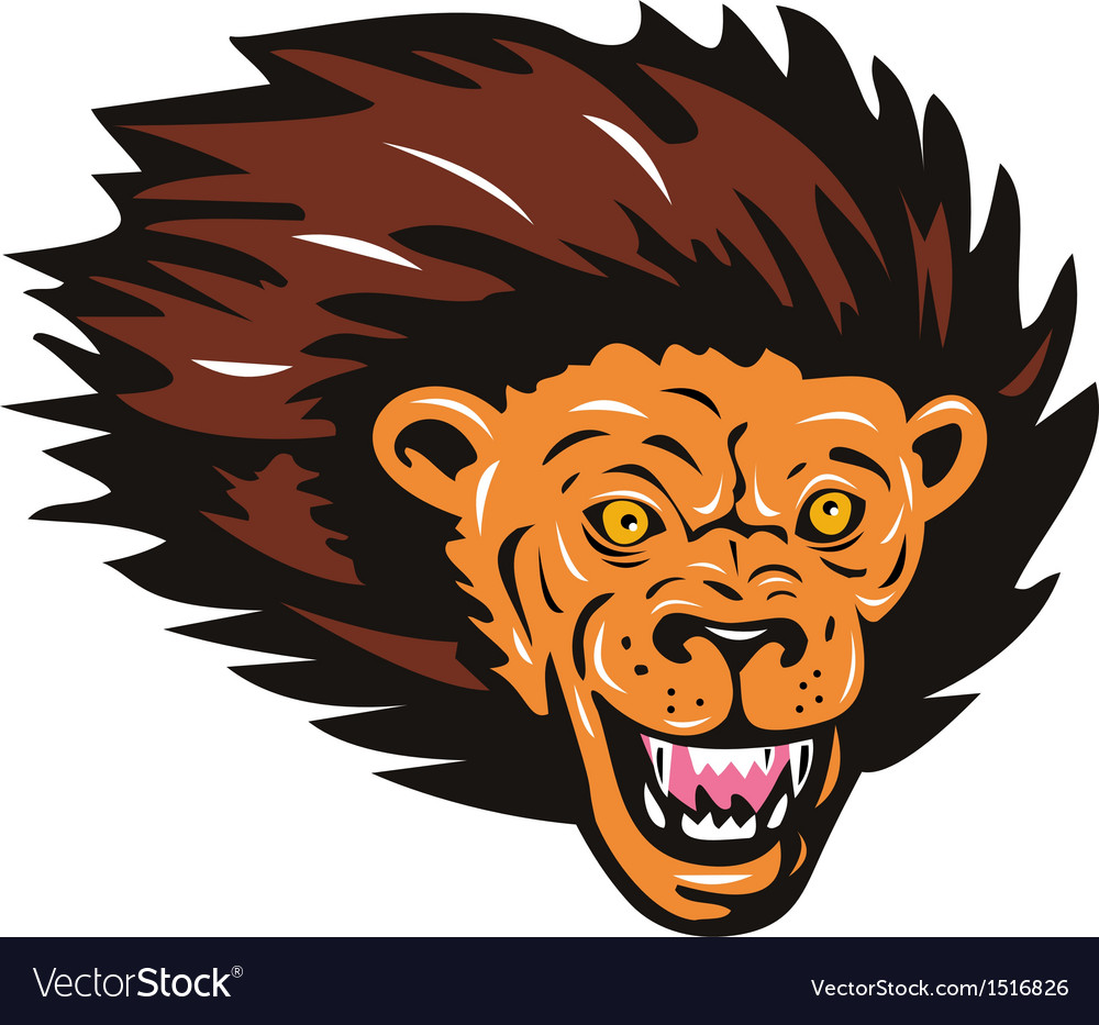 Lion big cat head vector | Price: 1 Credit (USD $1)