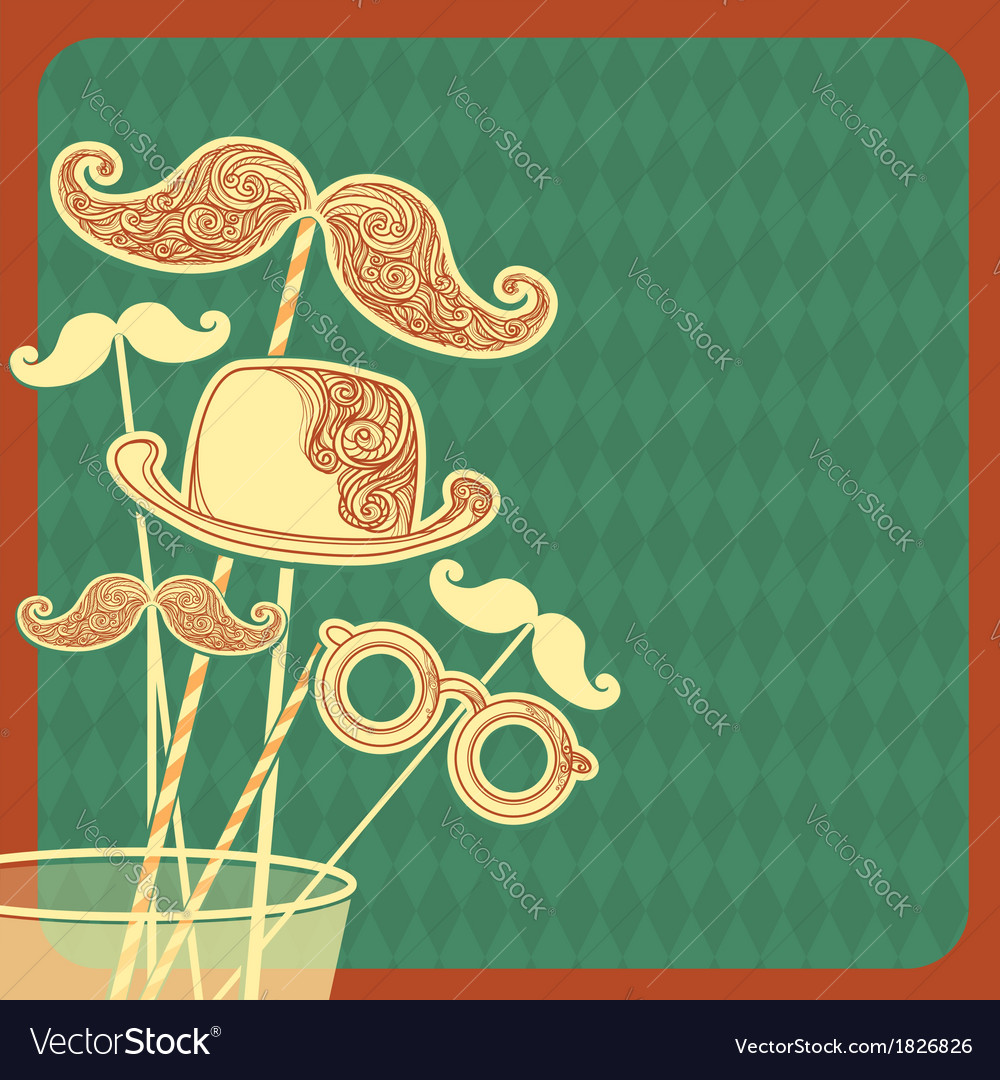 Moustache party background vector | Price: 1 Credit (USD $1)