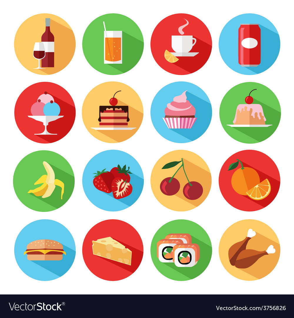 Set of flat food and drinks icons set vector | Price: 1 Credit (USD $1)