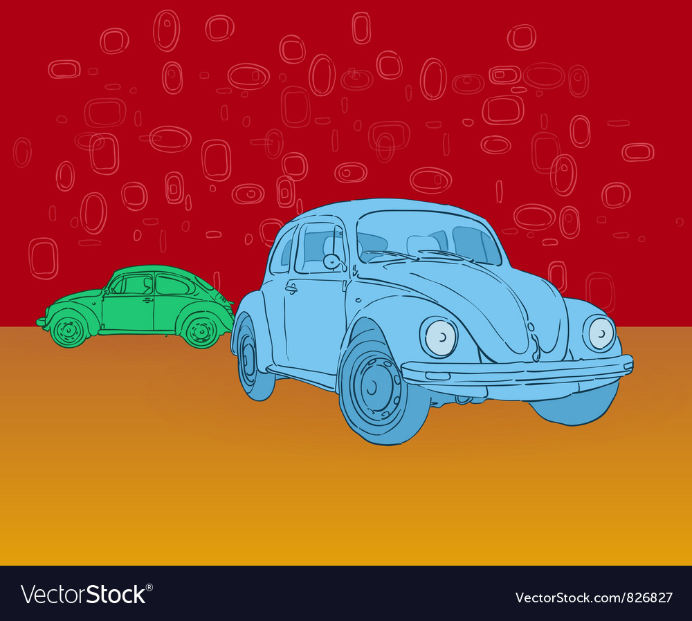 Beetle hippies car vector | Price: 3 Credit (USD $3)