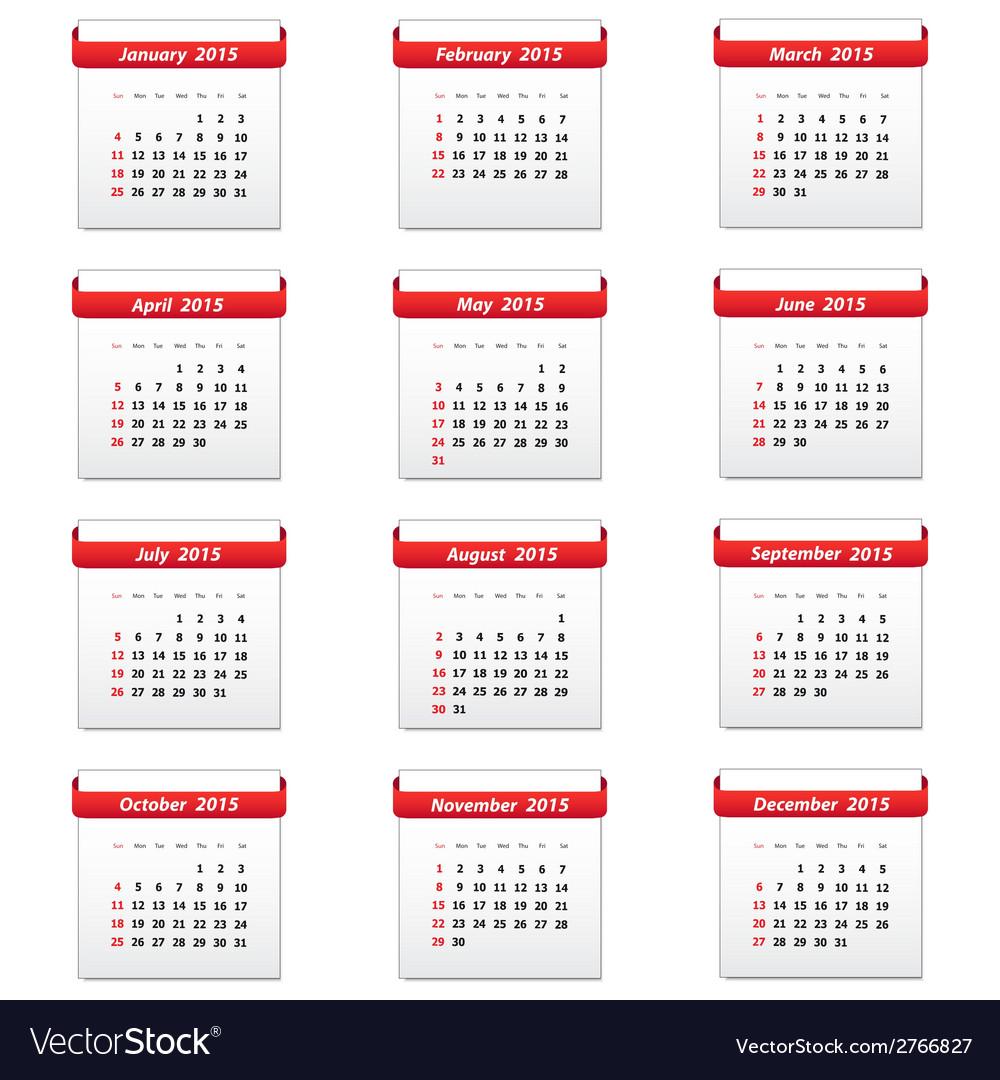 Calendar 2015 vector   Price: 1 Credit (USD $1)