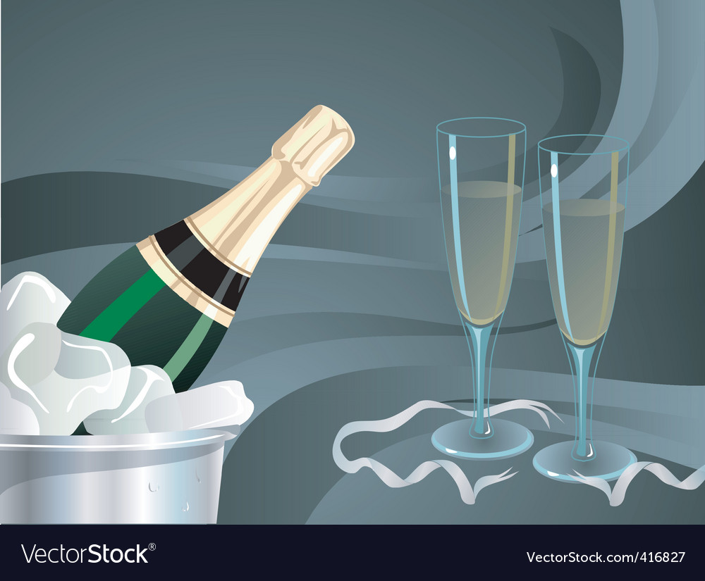 Champagne bottle and glass glow vector | Price: 1 Credit (USD $1)