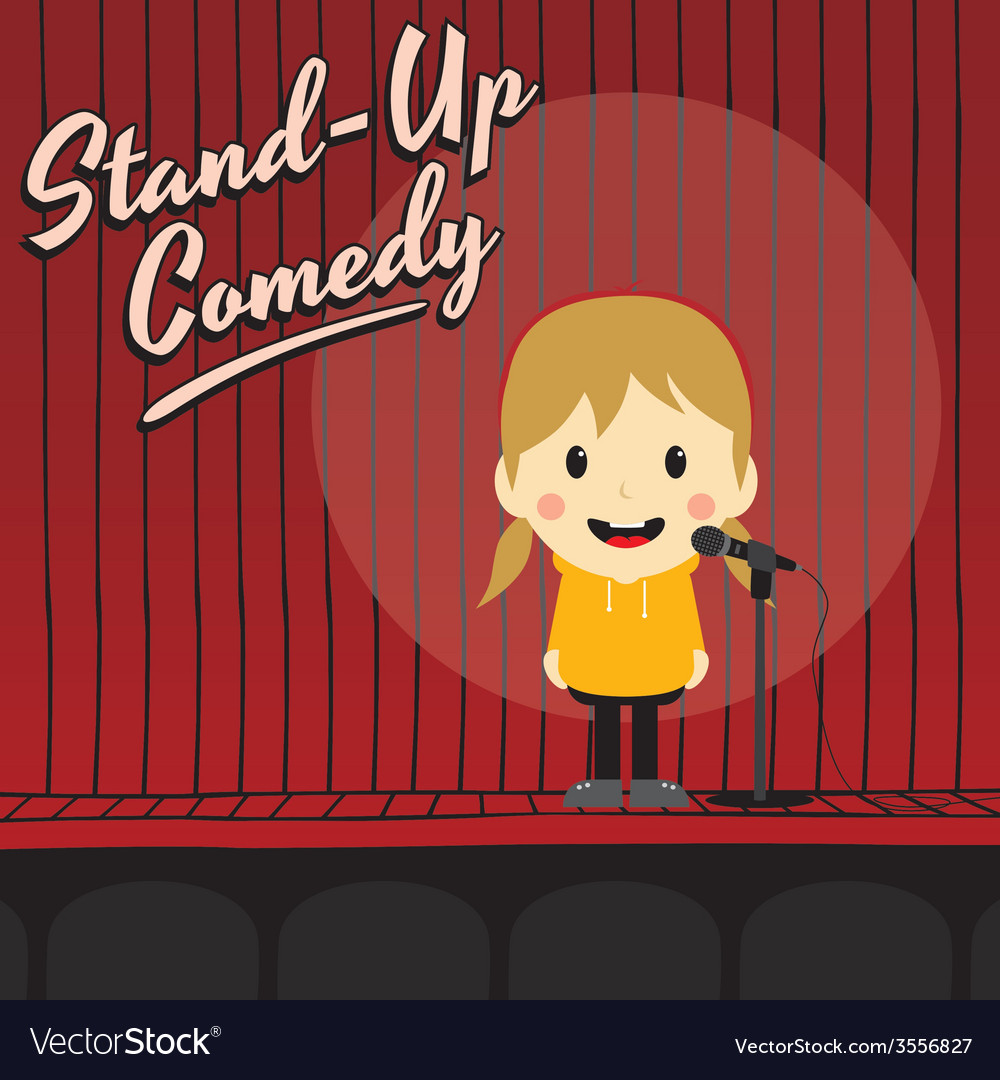 Female stand up comedian cartoon character vector | Price: 1 Credit (USD $1)