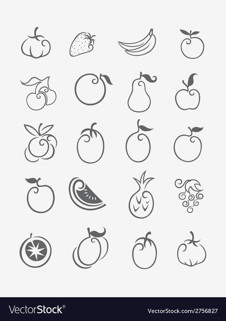 Fruits icon set vector | Price: 1 Credit (USD $1)