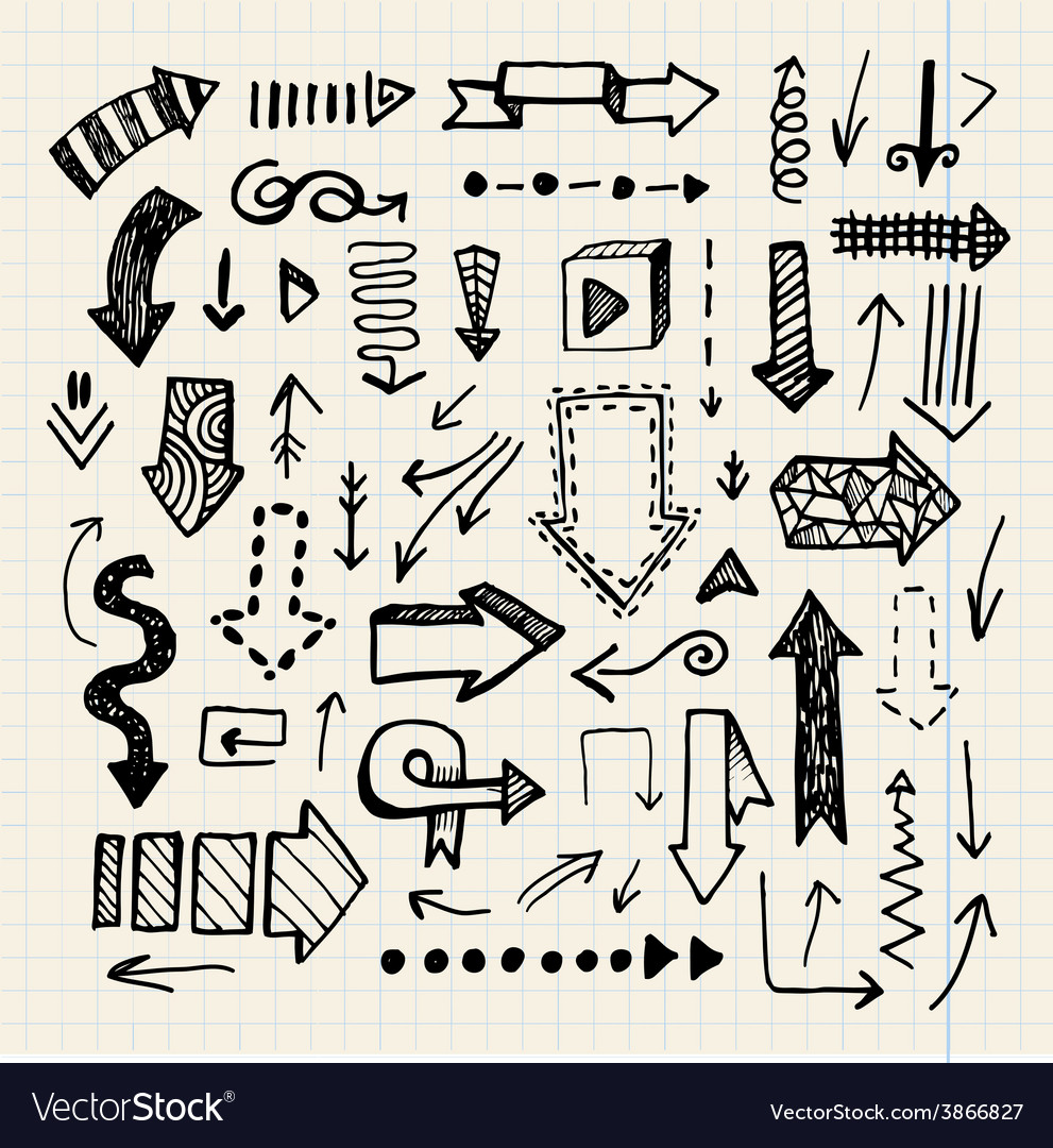 Hand drawn doodle arrow collection isolated vector | Price: 1 Credit (USD $1)
