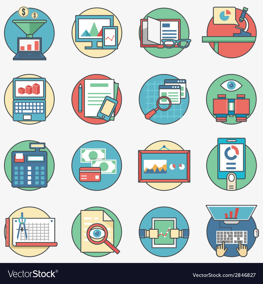 Outline set business icons vector | Price: 1 Credit (USD $1)