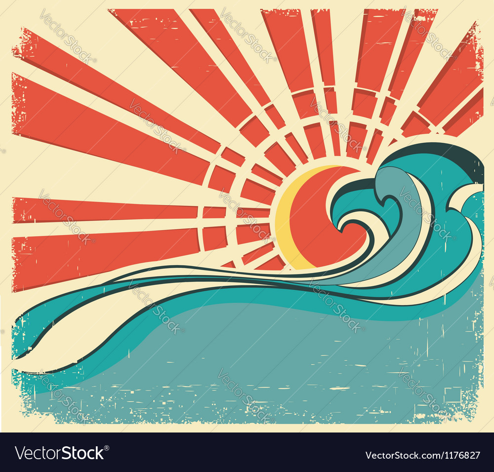 Sea wavesvintage of nature poster with sun on old vector | Price: 1 Credit (USD $1)
