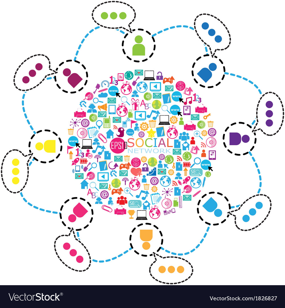 Template design with social network icons backgrou vector | Price: 1 Credit (USD $1)