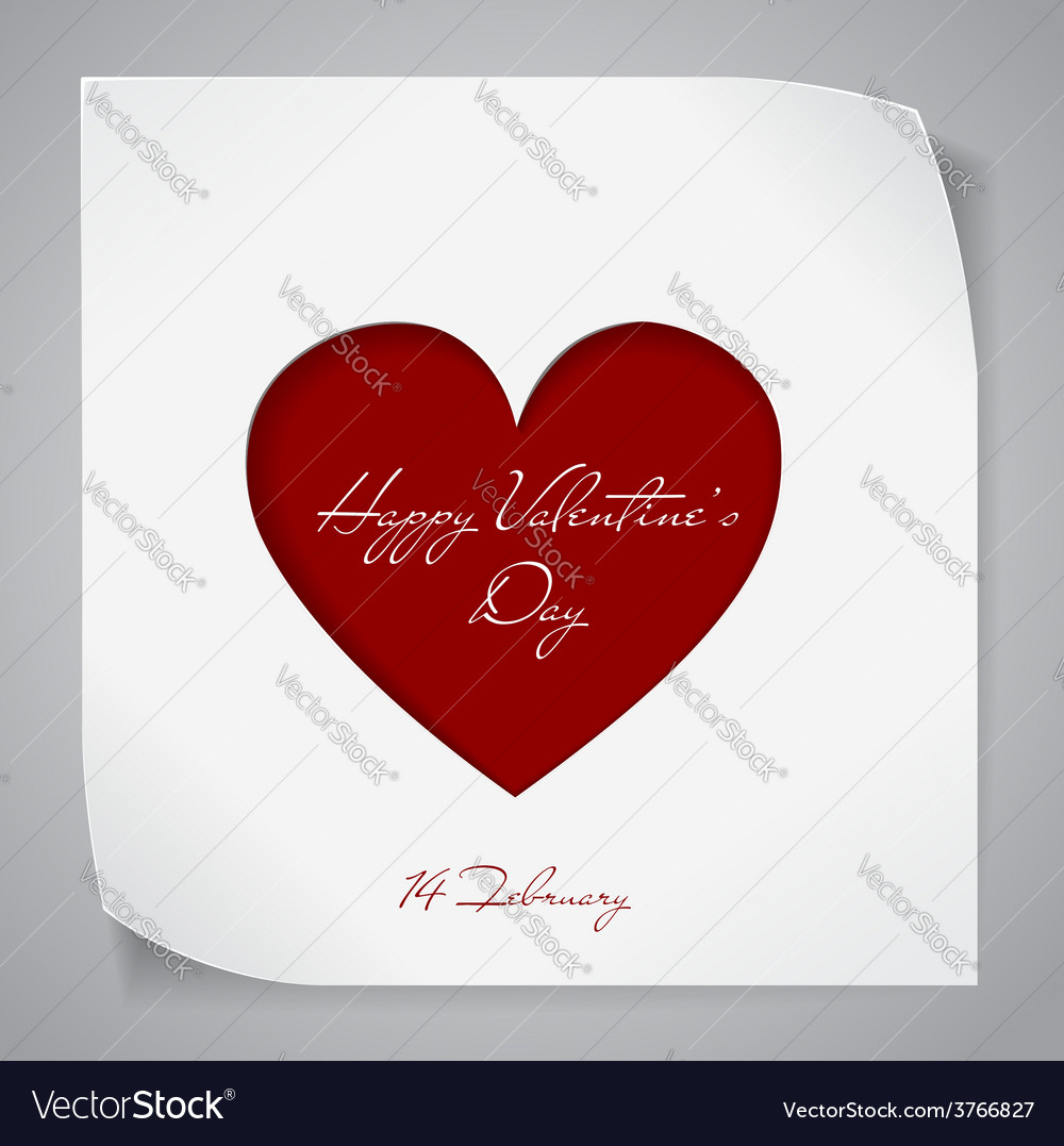 Valentines day background with red cutting heart vector | Price: 1 Credit (USD $1)