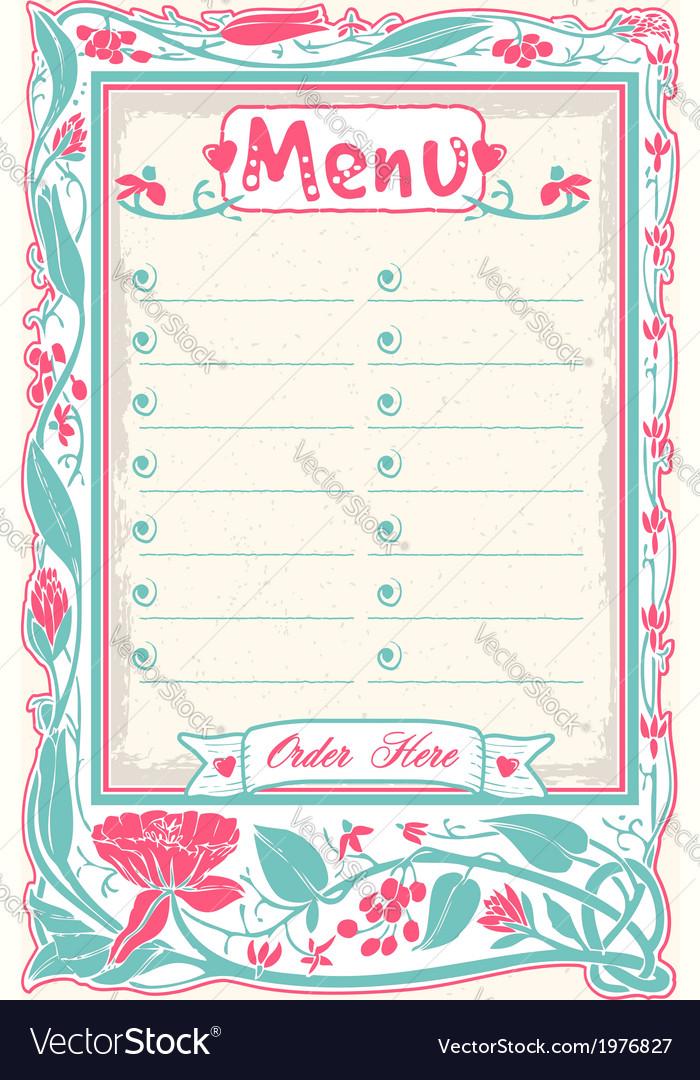 Vintage candid menu in pink vector | Price: 1 Credit (USD $1)