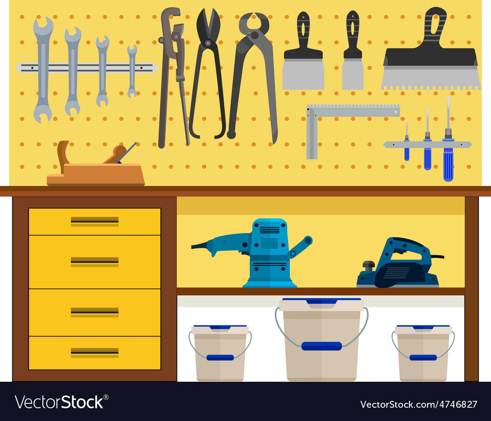 Working table with spanner vector | Price: 1 Credit (USD $1)