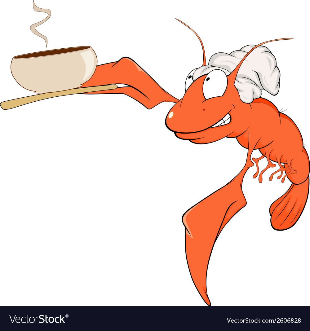 A red lobster a cook cartoon vector | Price: 1 Credit (USD $1)