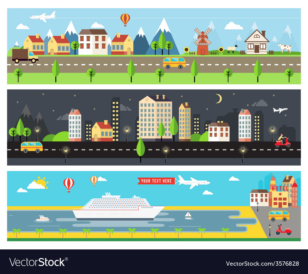 Beautiful city landscape banners vector | Price: 1 Credit (USD $1)