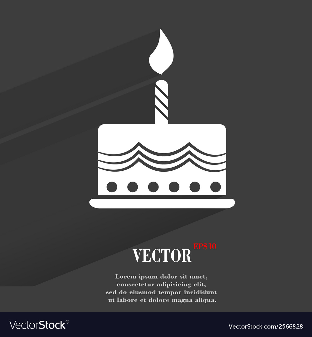 Cake flat modern web button with long shadow and vector | Price: 1 Credit (USD $1)