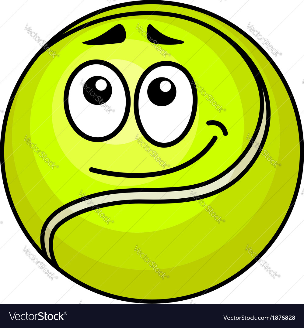 Cartoon tennis ball with a wry smile vector | Price: 1 Credit (USD $1)