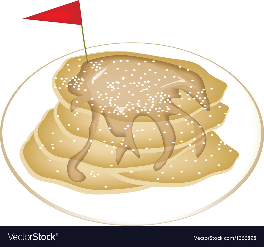 Five tradition pancakes with icing and honey vector | Price: 1 Credit (USD $1)