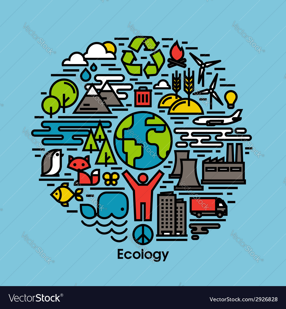 Green ecology and environment flat line icons set vector | Price: 1 Credit (USD $1)