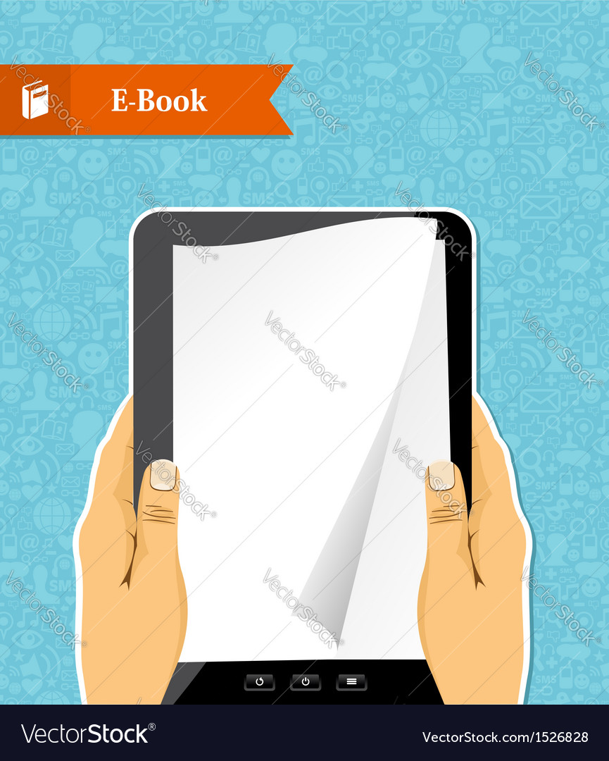 Hands holds an electronic book vector | Price: 3 Credit (USD $3)