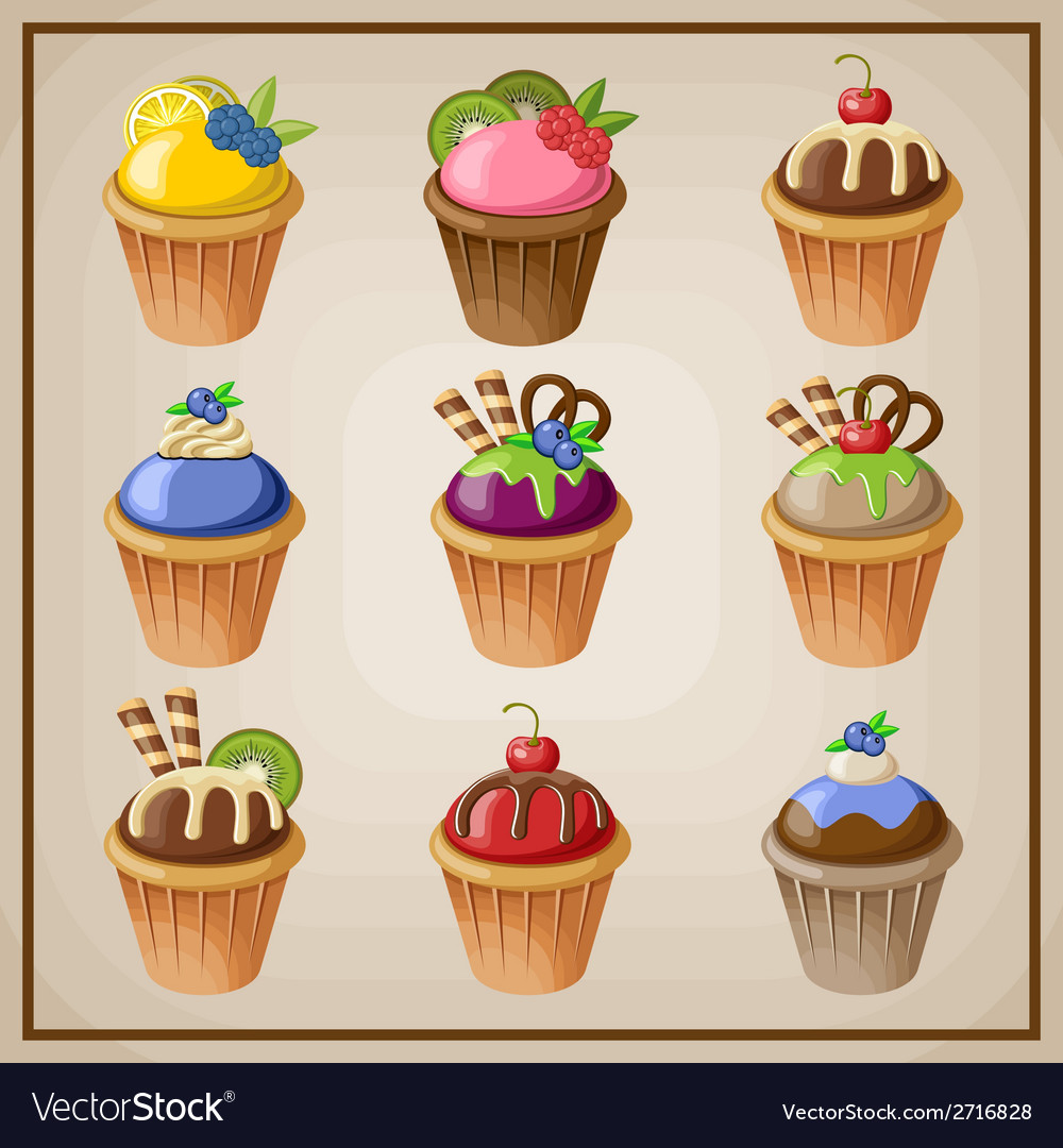 Set of cupcakes vector | Price: 1 Credit (USD $1)