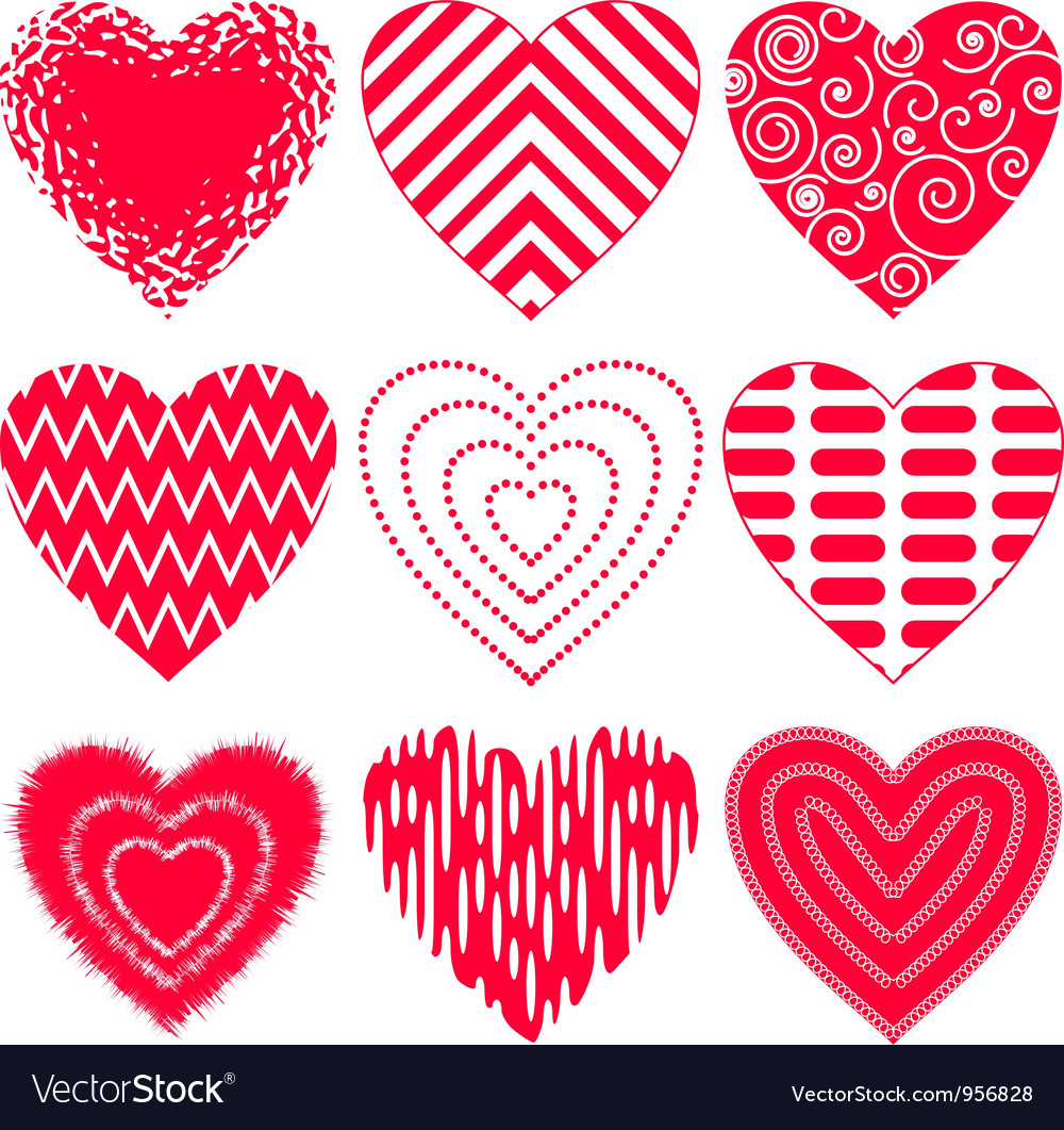 Valentine heart set vector | Price: 1 Credit (USD $1)
