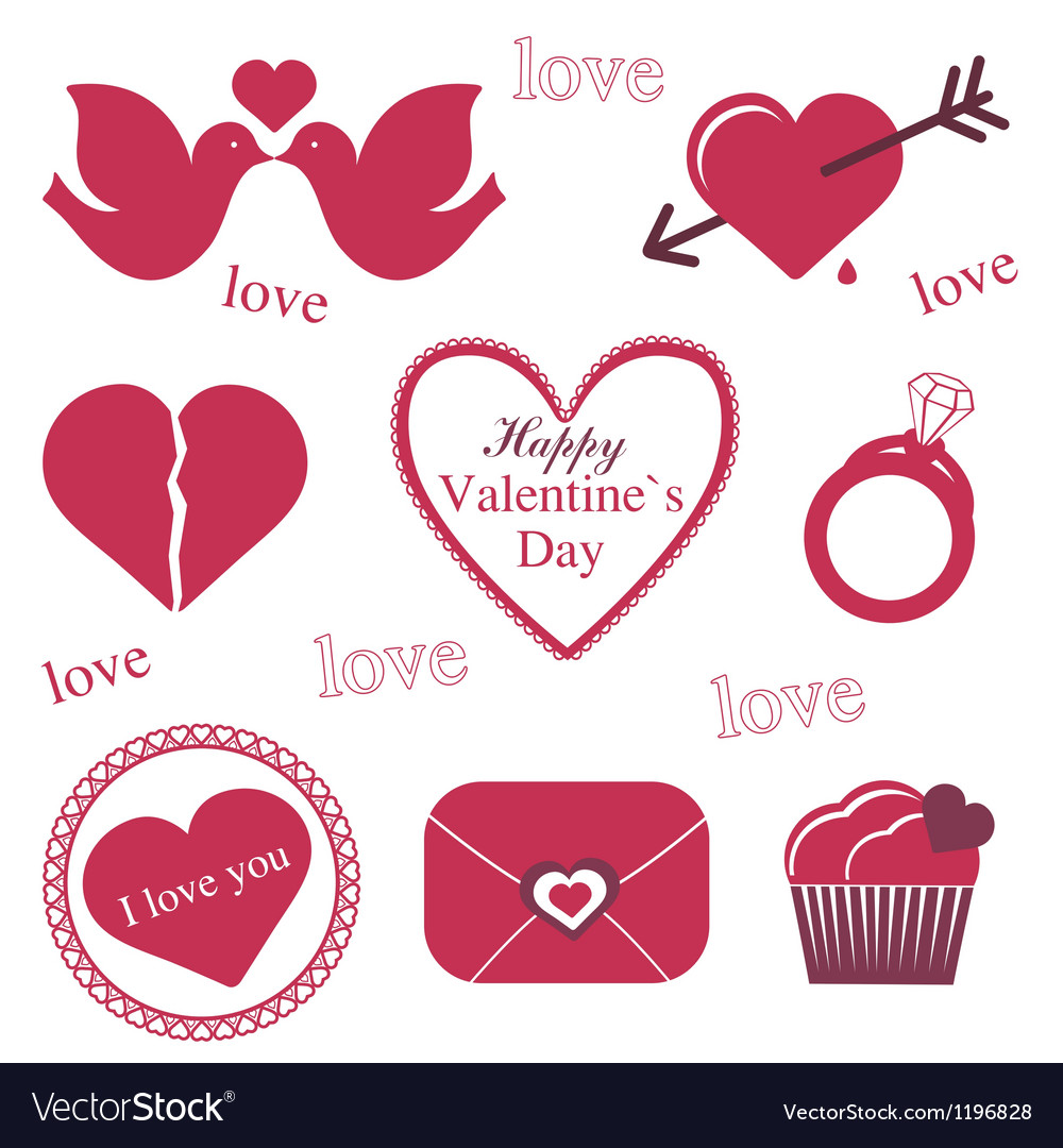 Valentine icons vector | Price: 1 Credit (USD $1)