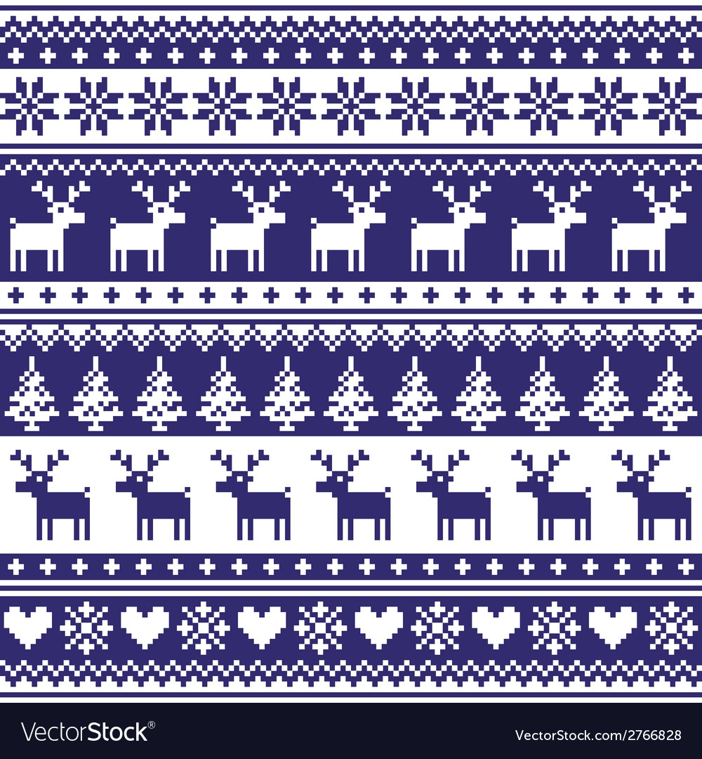 Winter nordic seamless navy blue pattern vector | Price: 1 Credit (USD $1)