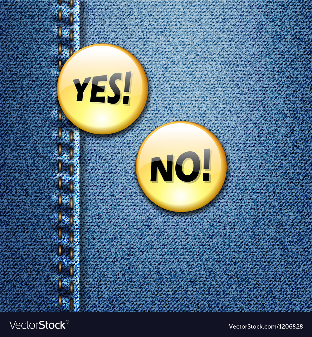 Yes no badge on jeans denim fabric texture vector | Price: 1 Credit (USD $1)