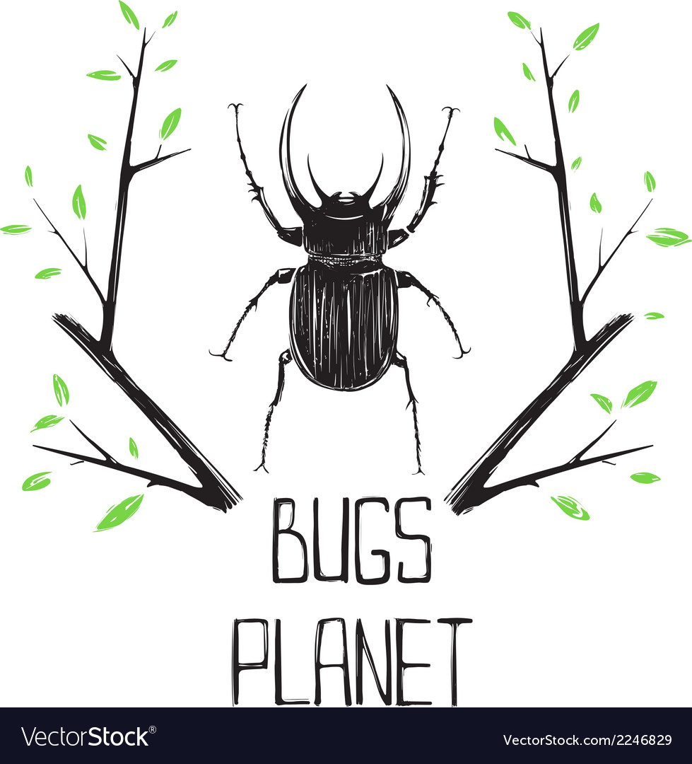 Big black beetle insect and nature symbol vector | Price: 1 Credit (USD $1)