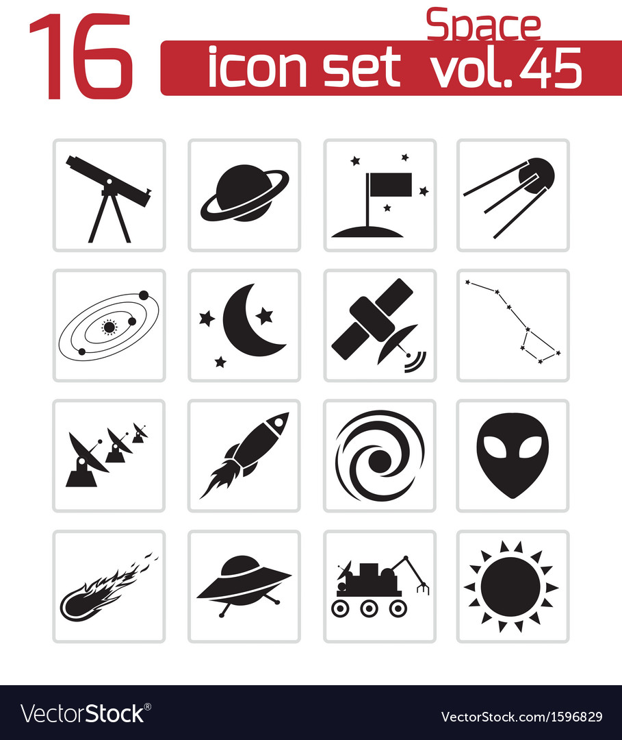 Black space icons set vector | Price: 1 Credit (USD $1)