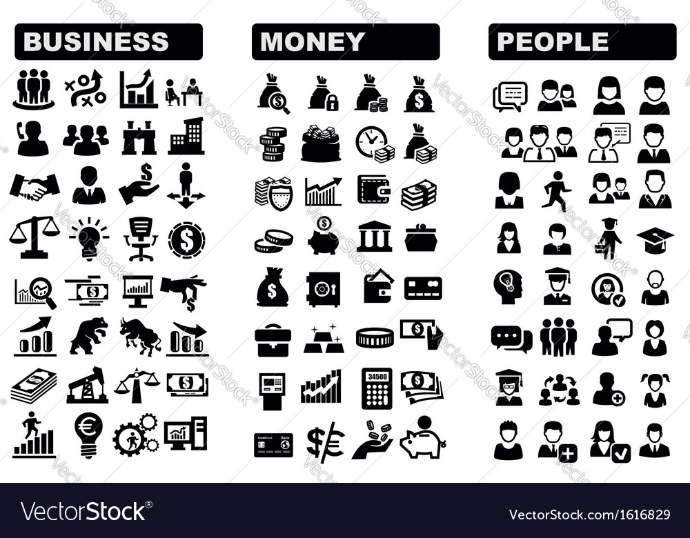 Business money and people icon vector | Price: 1 Credit (USD $1)