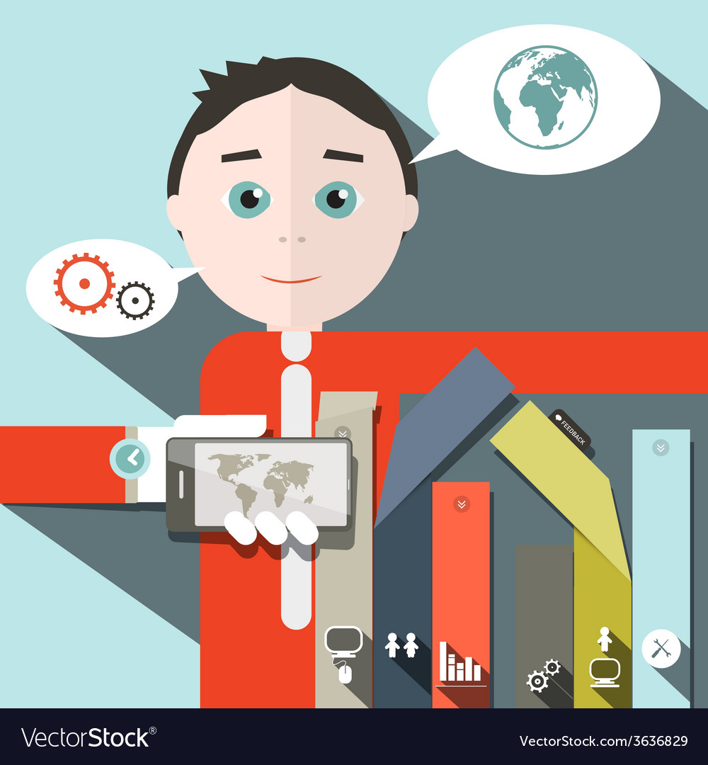 Businessman and social media - infographics vector | Price: 1 Credit (USD $1)