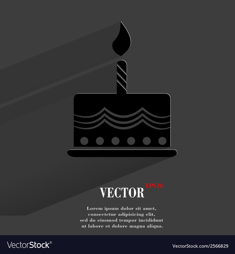 Cake flat modern web button with long shadow and vector