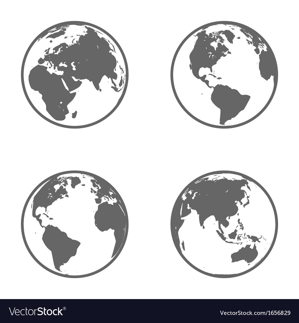 Earth globe emblem icon set vector | Price: 1 Credit (USD $1)