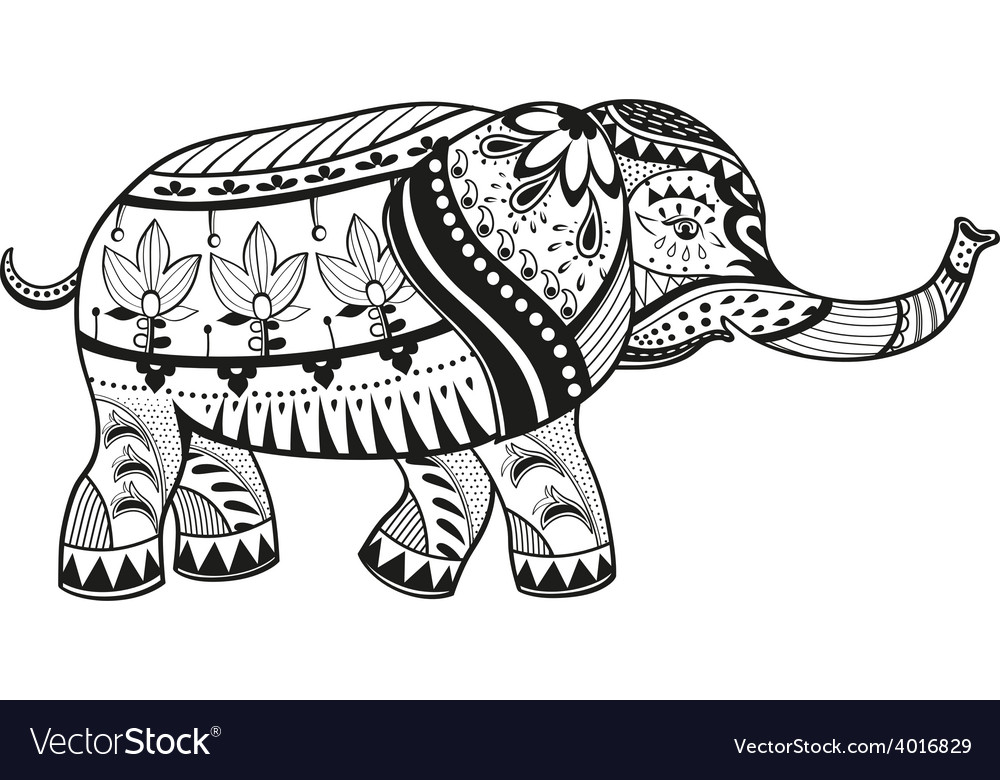 Ethnic ornamented baby elephant vector | Price: 1 Credit (USD $1)