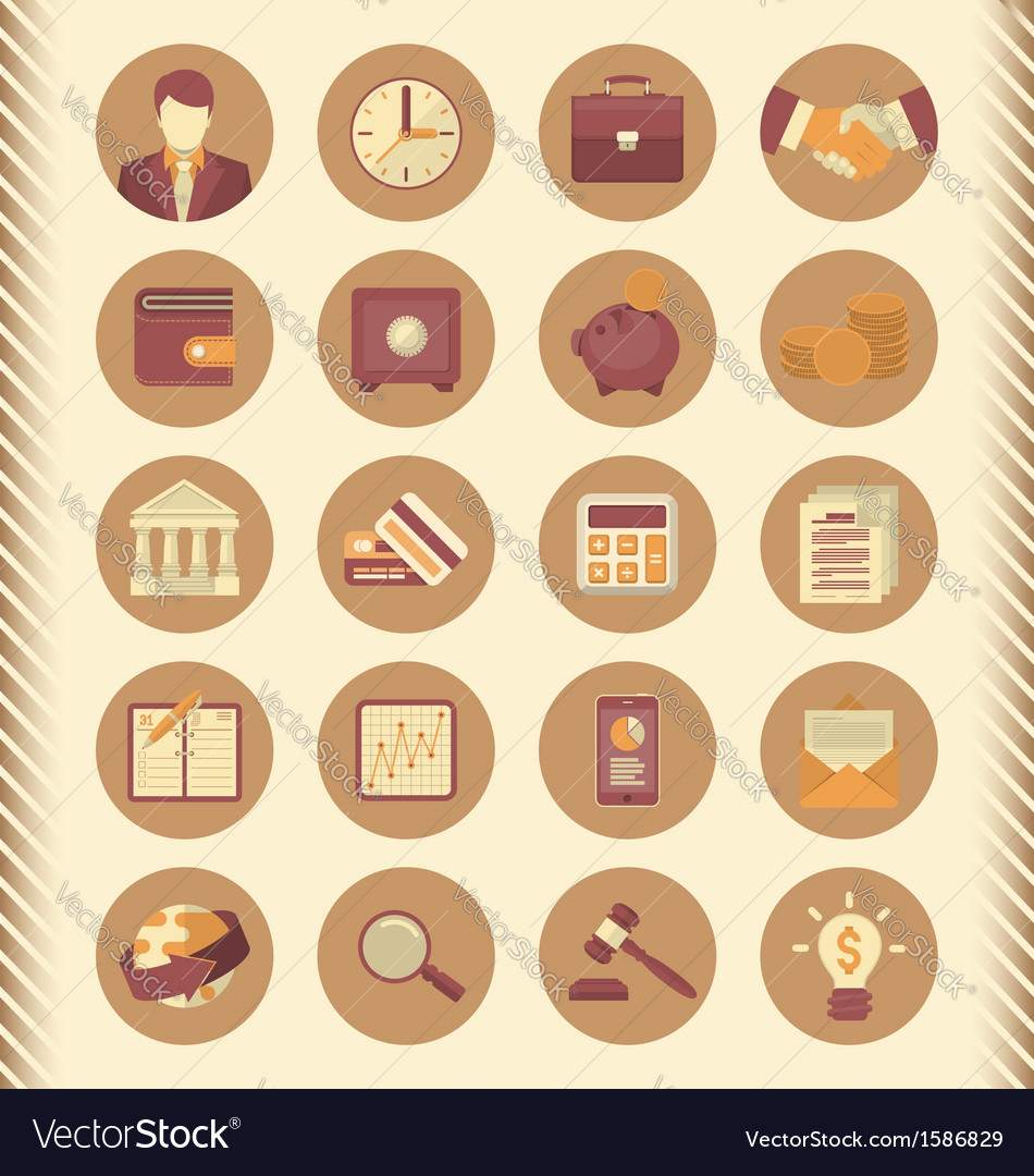 Financial and business icons brown set vector | Price: 1 Credit (USD $1)