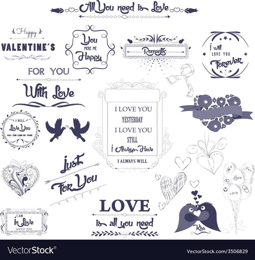 Happy valentines day and weeding design elements vector | Price: 1 Credit (USD $1)