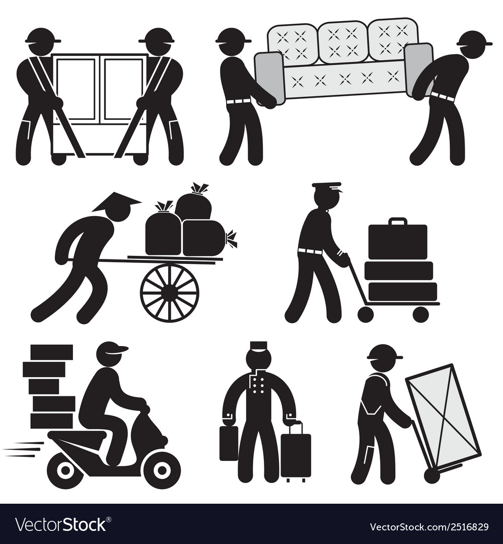 Loader people icons vector | Price: 1 Credit (USD $1)